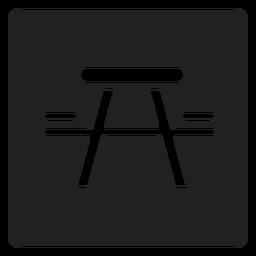 Picnic mesa y silla icono cuadrado