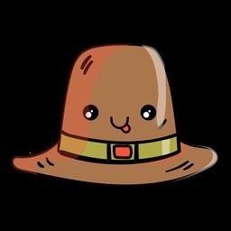 Ícone dos desenhos animados de chapéu de peregrino