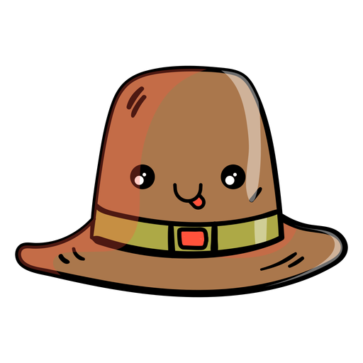 Icono de dibujos animados de sombrero peregrino Transparent PNG