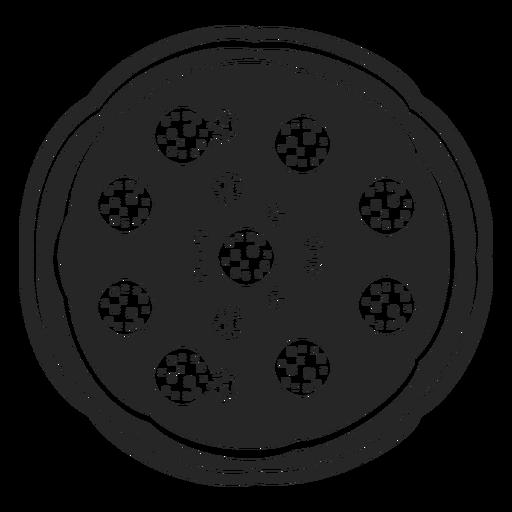 Icono plano de vista superior de pizza
