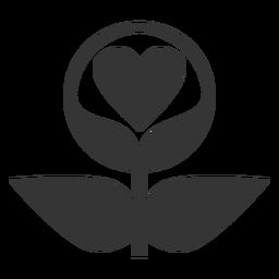 Ícone de estilo de linha de amor de planta