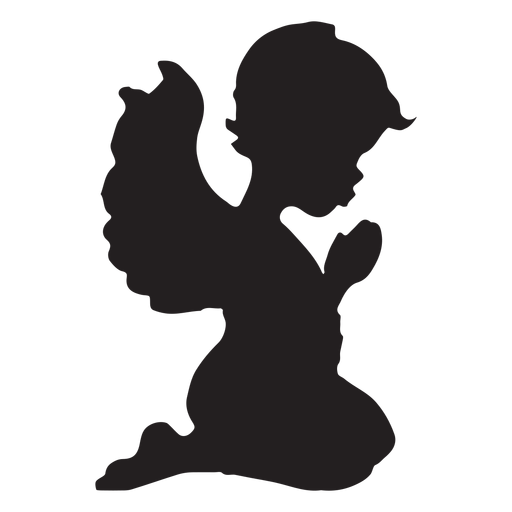 Praying cupid silhouette Transparent PNG