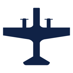 Propeller airplane top view silhouette
