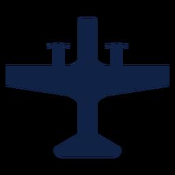 Silueta de vista superior de avión de hélice