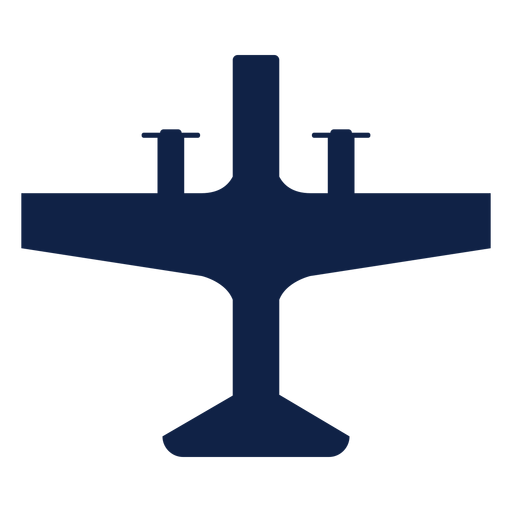Propeller airplane top view silhouette Transparent PNG