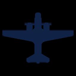 Silhueta de vista superior de avião de hélice