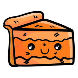 Pumpkin pie slice cartoon icon