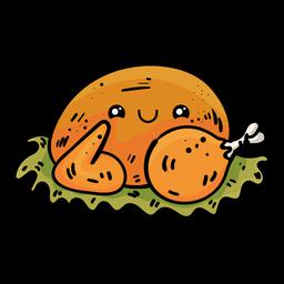 Ícone de desenho animado de peru assado