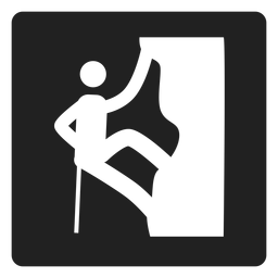 Rock climbing square icon