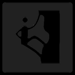Rock climbing square icon
