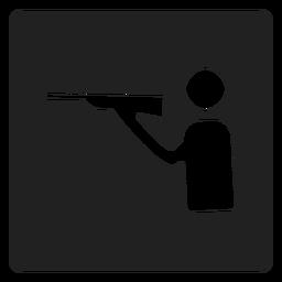 Icono cuadrado de deporte de tiro.