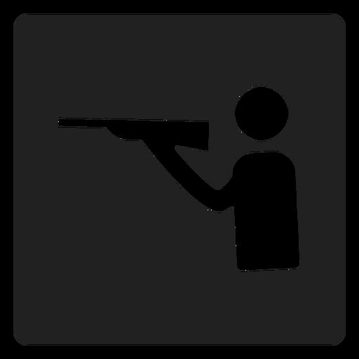 Icono cuadrado de deporte de tiro