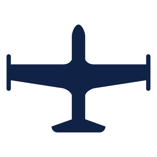 Simple airplane top view silhouette Transparent PNG