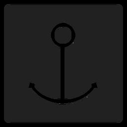 Icono cuadrado de ancla simple