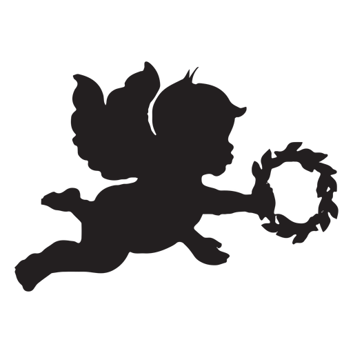 Silhueta simples cupido Transparent PNG