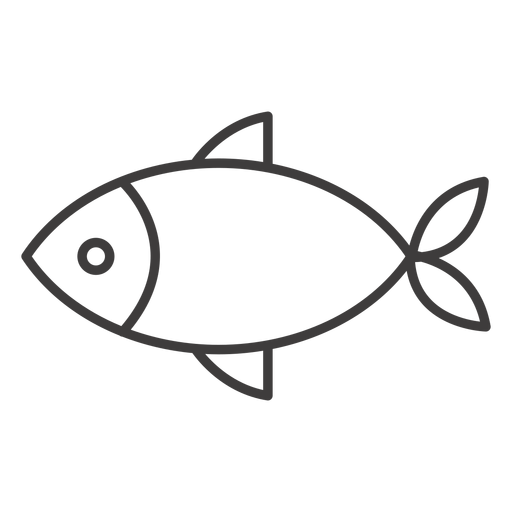 Simple fish stroke icon Transparent PNG