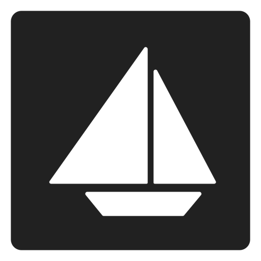 Simple sailboat square icon Transparent PNG