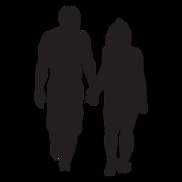Sencilla pareja caminando silueta