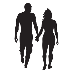 Simple walking couple silhouette