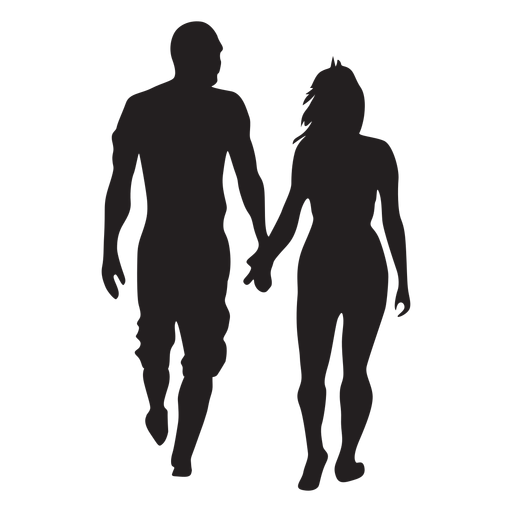 Simple walking couple silhouette Transparent PNG