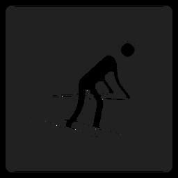 Esqui de neve ícone quadrado