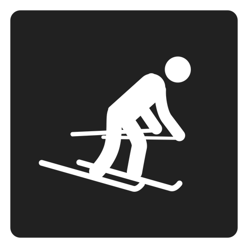 Snow skiing square icon Transparent PNG