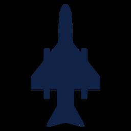 Silhueta de vista superior de avião de combate de greve