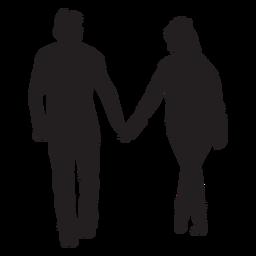 Strollng juntos pareja silueta