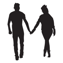 Strollng together couple silhouette
