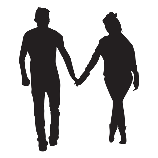 Strollng together couple silhouette Transparent PNG