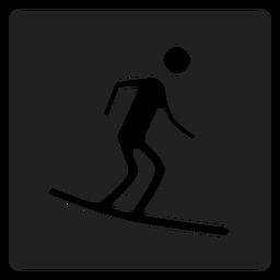Surf boarding square icon