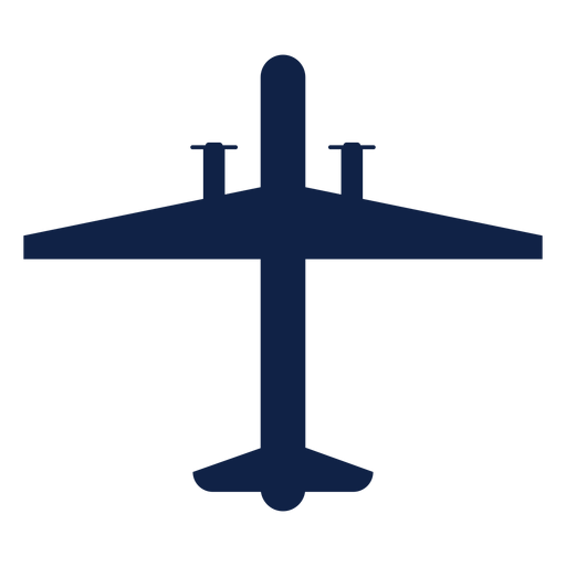 Surveillance airplane top view silhouette Transparent PNG