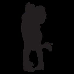 Dulce pareja besándose silueta