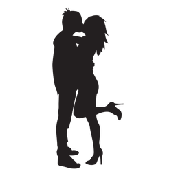 Sweet kissing couple silhouette