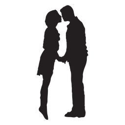 Sweet kissing couple silhouette couple