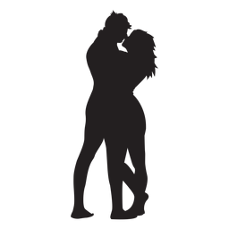 Sweet lovers hug silhouette