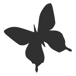 Symmetric butterfly flying silhouette