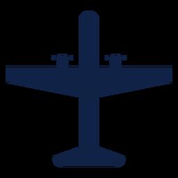 Silueta de vista superior de avión táctico