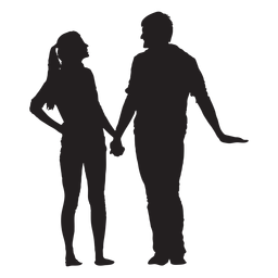 Talking and holding hands couple silhouette