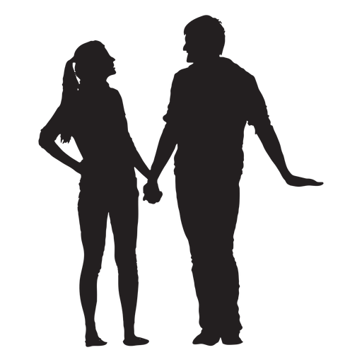 Talking and holding hands couple silhouette Transparent PNG