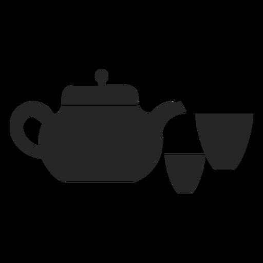 Tetera con icono plana de tazas Transparent PNG