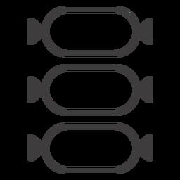 Tres icono de trazo de salami