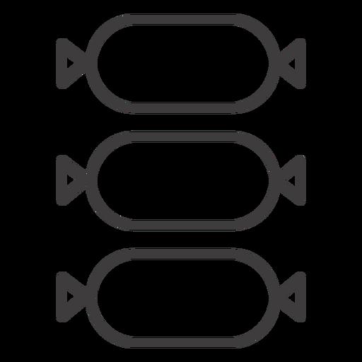 Tres icono de trazo de salami Transparent PNG