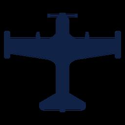 Silhueta de vista superior do avião treinador