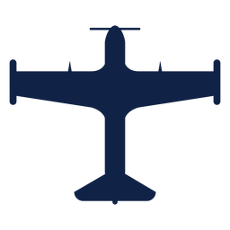 Silueta de vista superior de avión de entrenador