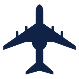 Transport airplane top view silhouette
