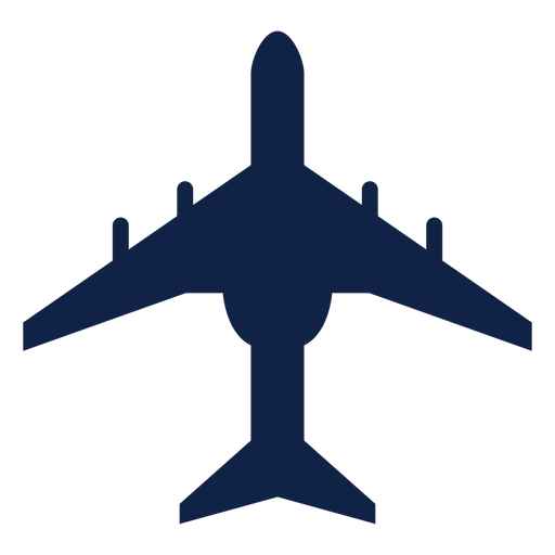 Transport airplane top view silhouette Transparent PNG