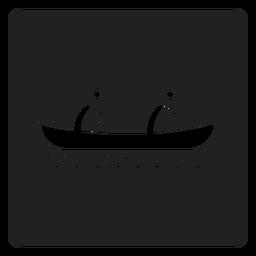Icono cuadrado de kayak para dos personas