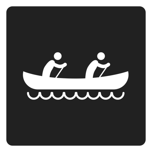 Two person kayaking square icon
