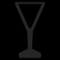 Ícone plana de vidro em forma de v
